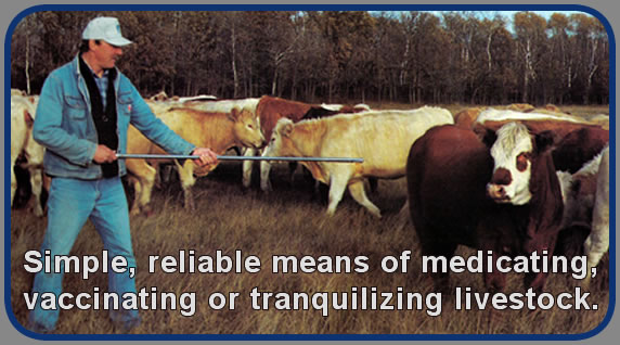 Simple, reliable means of medicating, vaccinating or tranquilizing livestock.